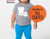 All States and Washington DC 'Roots.' Tri Blend Baby T-Shirt - Infant Boy and Girl Tee