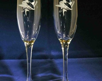 Pair of San Jose Sharks hand etched champagne flutes Made in USA