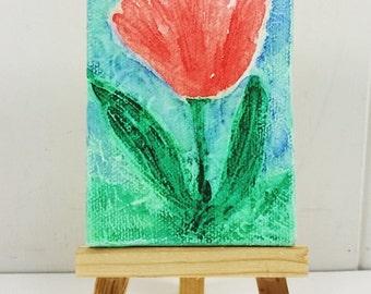 Red Tulip Textured Watercolor Painting, Spring Garden Tulip Miniature Art Original
