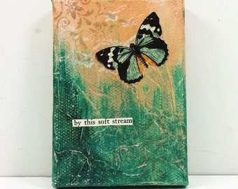 Spring Butterfly in Peach and Turquoise - By This Soft Stream - Miniature Art Canvas with Easel