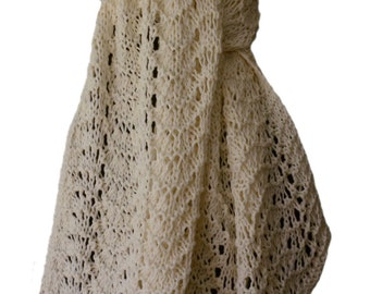 Hand Knit Scarf - White Cotton Cashmere Feather & Fan Lace