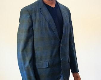 60s Dark Blue Madras Blazer, Madras Sport Coat, India Madras Jacket, Madras Plaid Blazer, Blue Plaid Blazer 40R