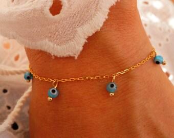 Turquoise Evil Eye Bracelet - Bohemian Bracelet - Turquoise Pendant Bracelet - Gold Charm Bracelet - Boho Chic (available also in Silver)