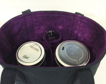 Mason Jar Carrier Bag - Quart 2-jar Jars to Go - Black with Purple lunch tote cozy