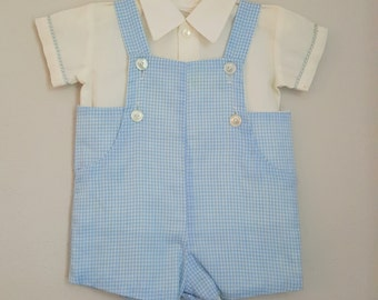Vintage Baby Boys Blue Gingham Overall Romper and White Shirt - Size 6 months - New, never worn