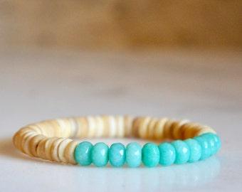 Beaded Bracelet Mala: Coconut Shell Beads + Turquoise Dyed Jade Semi-Precious Gemstones, Friendship Bracelet, Lucky Yoga Mala, Boho Jewelry