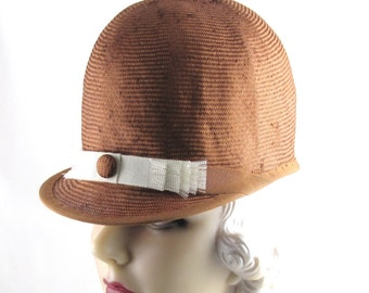 Womans Hat Copper Straw Riding Hat Handmade Hat Mother of the Bride Church Bridesmaid Ascot Derby Races Art Deco Custom Made for Each Client