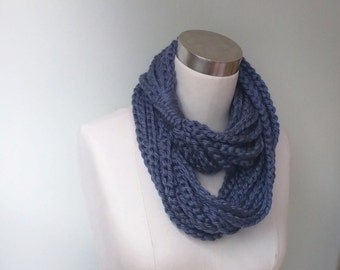 Blue Scarf Necklace . Long . Cerulean Blue Scarf . Blue Chain Scarf . Chain Infinity Scarf . Long Scarf . Knit Necklace . Crochet Scarf