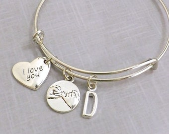 Couples Gift, Pinky Promise Bracelet, I Love You Girlfriend Gift for Her, Pinky Swear Bangle,  Mother Daughter Jewelry