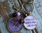 Teacher Gift Keychain Personalized It takes a big heart to shape little minds, gift present Personalized purple heart charm cute quote