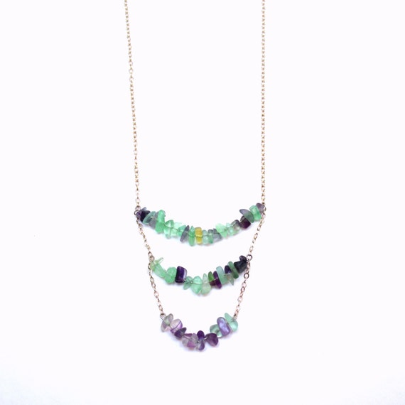 Fluorite Chevron Necklace * Layered + Long Silver Necklace