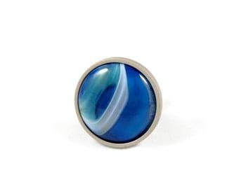 Freedom--Agate Knob--Blue Agate Drawer Pull--Blue Agate Knob--Blue Agate Dresser Knob