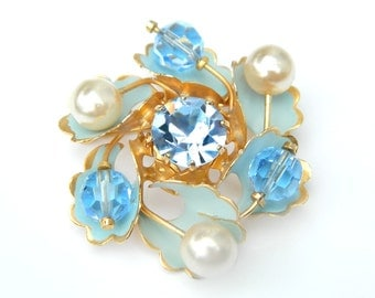 Austria Brooch 10K Gold Crystal Flower Pin Vintage 1960's Collectible Jewelry Wedding Blue Bead Pearl 10K GF or Overlay Brooch/Pendant