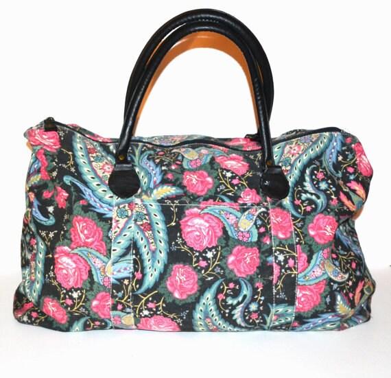 Overnight Bag Weekender Bag Floral Print Bag Duffle Bag Carry