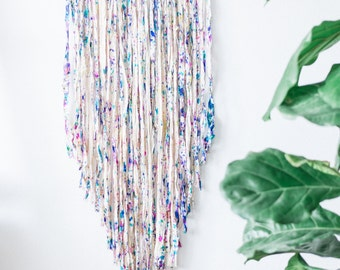 Bohemian Wall Hanging Silk Fringe Decor Sari Silk Wall Art Dream Catcher Multicolored Silk Fringe Wall Decor Chevron Natural Art