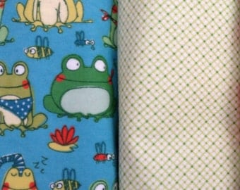 baby boy blanket FRoG baby Blanket set PERSONALIZED name Flannel Baby blanket baby extra large green swaddle blanket receiving
