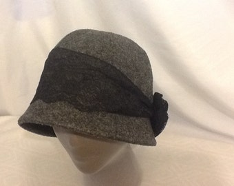 Charcoal Gray Felt Cloche with Black Lace Band