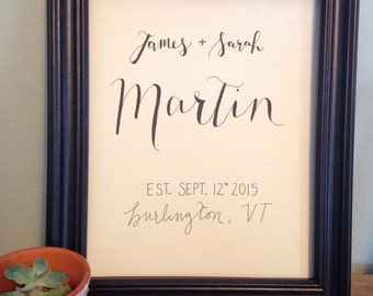 Personalized Wedding or Anniversary Gift- hand drawn names with wedding date