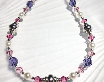 Crystal Necklace Beaded Jewelry Silver Bead Necklace Swarovski Necklace Pink Purple Jewelry Swarovski Crystal Beaded Necklace