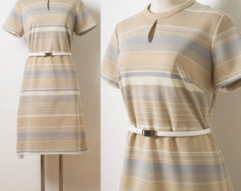 mod 60s dress, Mad Men Dress, 60s Dress, Light brown dress, 60s Stripe Dress, Vintage stripe dress, 60s Shift Dress, 60s Knit Dress - L/XL