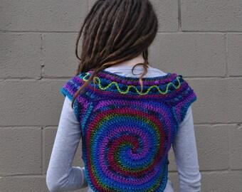 SALE Spiral Play Freeform Crochet Vest // Ooak Cropped Fiber Art Pullover Sweater