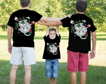 Christmas In July - Matching Father Son Shirt Set - Santa's Race Track Road Map Gift for Dad and baby July Special