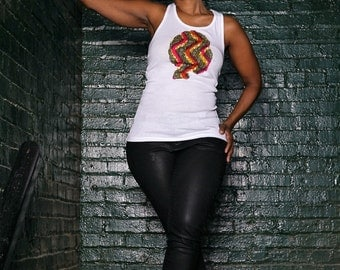 African Clothing for Women:  Li Afro Tank Top ONLY - Head wrap NOT included