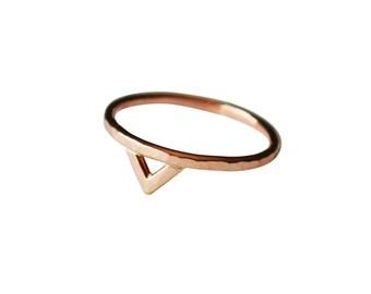 Rose Gold Spike Ring, Thin 14K Gold Ring, Pink Gold Triangle Ring, Simple Rose Gold Ring, Geometric Ring, Rose Gold Filled Ring, Minimal