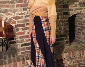 60s, 70s high waisted skirt, swirling twirling plaid and navy, extra small