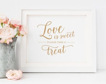 Love is Sweet Please Take a Treat Sign Printable // Caramel Gold Wedding Sign, Printable Love is Sweet Sign // Wedding Favor Sign