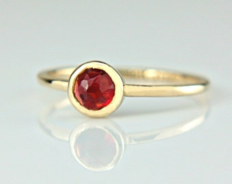 Red Garnet Gold Ring 14k Rose Cut Garnet Engagement Ring Red Rose Cut Garnet Gold Ring Made in Your Size White Rose Yellow Gold Garnet Ring