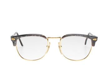 OAR grey marble & adorned gold finest quality 50s style (JFK) hand made in Italy clubmaster eyeglasses frames, NOS 1970s