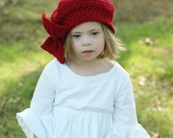 Big Bow Beret. Red Beret. Gift for Girls