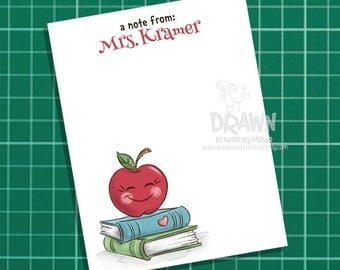 Printable, Customized Teacher Note Cards, Apple on Books, Printable, Set of 4 per page 8.5 x 11