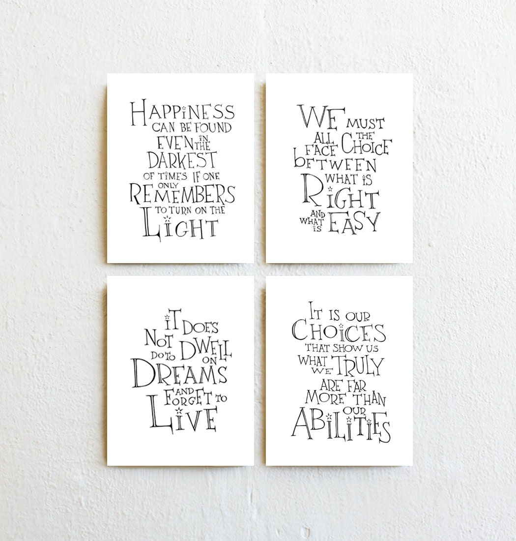 Set of 4 inspirational art prints modern minimalist home zoom amipublicfo Images