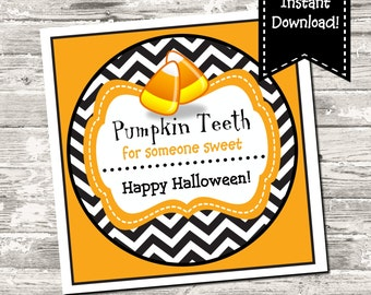 INSTANT DOWNLOAD Pumpkin Teeth Candy Corn Halloween Square Treat Tag Digital Printable