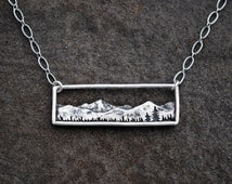 Mountain Range Necklace - Bar Necklace - Sterling Silver Nature Necklace - Landscape - Colorado Jewelry - Everyday Necklace
