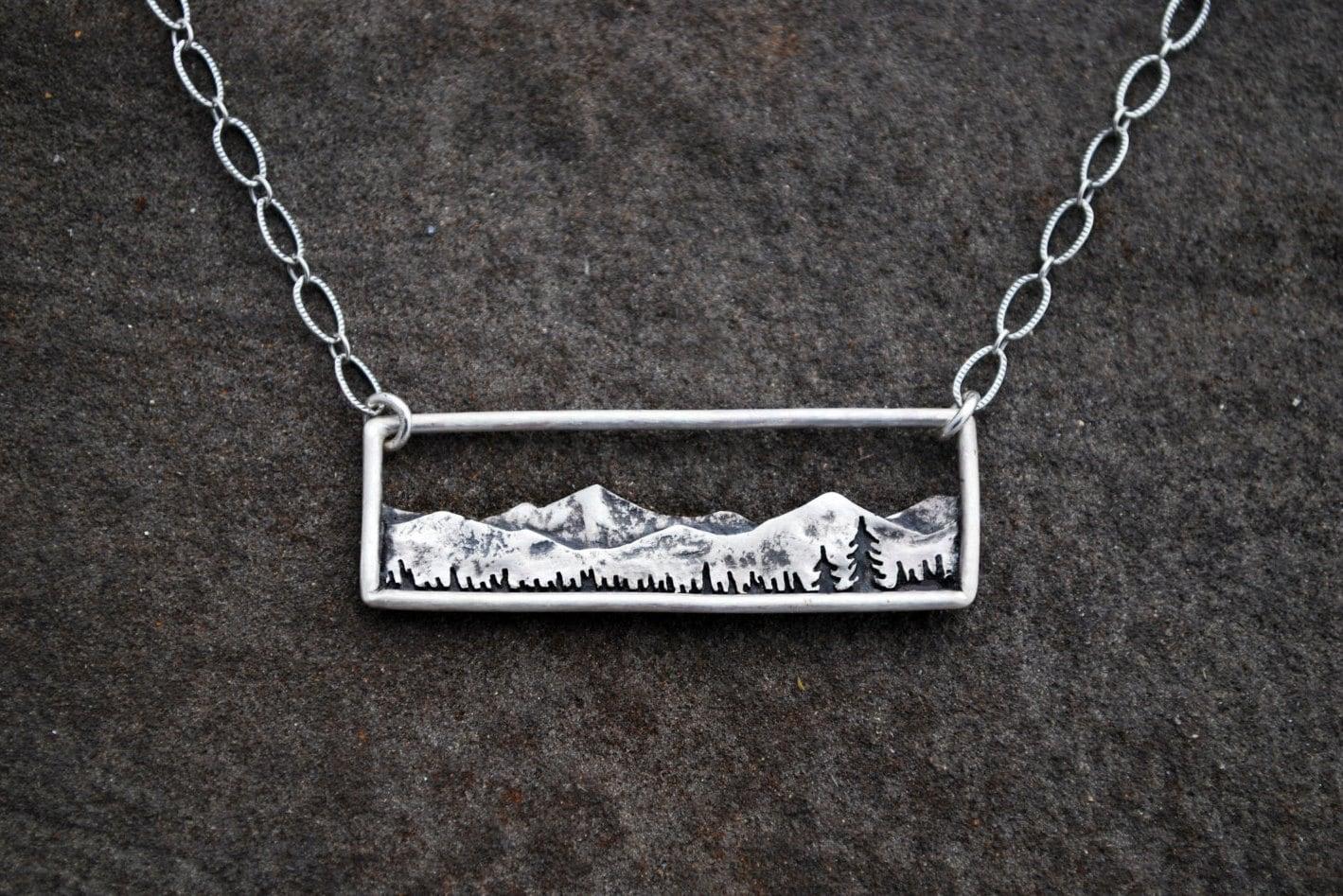 mountain range necklace bar necklace sterling silver. Black Bedroom Furniture Sets. Home Design Ideas