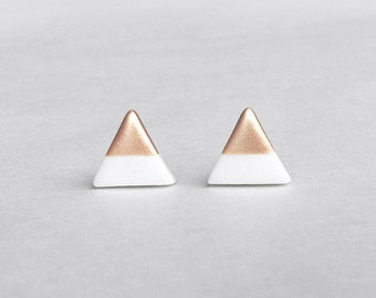 White Rose Gold Dipped Triangle Stud Earrings, Bridesmaid Earrings Bridesmaid gifts, Wedding Jewelry, Small Triangle Studs,Amoorella Jewelry