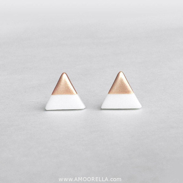 Triangle Earrings: White Rose Gold Dipped Triangle Stud Earrings Bridesmaid