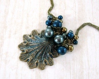Seashell Necklace - Swarovski Pearl Cluster Victorian Mermaid Jewelry - Sea Shell Tahitian Teal Pearl Hand Painted Ocean Shell Pendant