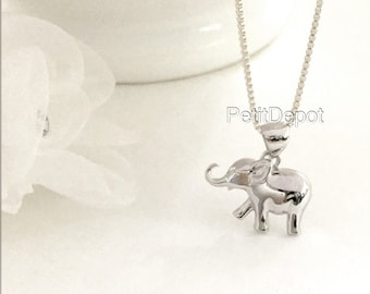 Elephant Necklace Sterling Silver Elephant Pendant Baby Elephant Charm Silver Necklace Sterling Silver Animal Necklace Everyday Jewelry
