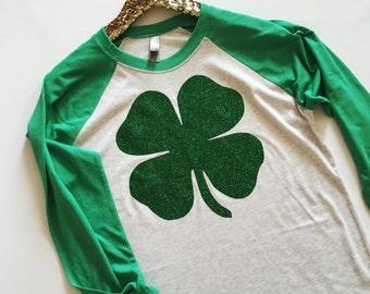 Shamrock Raglan, St. Patrick's Day Shirt, Shamrock Shirt, Green Shirt, Four Leaf Clover Shirt, Cute St. Patrick, Shirt, St. Patrick's Day