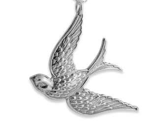 Solid Flying Swallow Songbird Bird Symbol of New Beginnings & Sailing Experience Charm Pendant Necklace #925 Sterling Silver #Azaggi N0077S