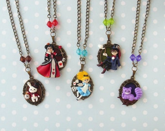Alice in Wonderland Necklace - Alice in Wonderland Jewelry - Alice Necklace - Queen of Hearts Necklace - Mad Hatter Necklace