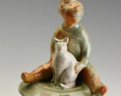 Reserved for Lisa...A Keepsake Memorial/Cremation Urn sculpture of Kitty and Child
