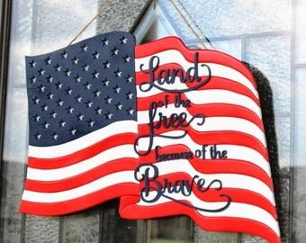 American Flag Wood Intarsia Door Hanger - Patriotic Door Hanger - Fourth Of July Door Decor - Land Of The Free Because Of The Brave