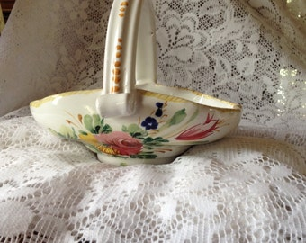 Free Shipping Made in Italy Hand Painted Ceramic Pottery Floral Basket  Signed Art Piece