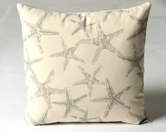 11 Sizes Available: One Gray Starfish Nautical Pillow Cover Coastal Lumbar pillow Beige Sandy Pillow Coral Seahorse Beige grey-N508