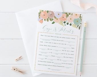 Floral Wedding Shower Madlibs - Boho Pastel Floral Wedding Adlibs - Reception Game - Mint and Peach - Printable or Printed
